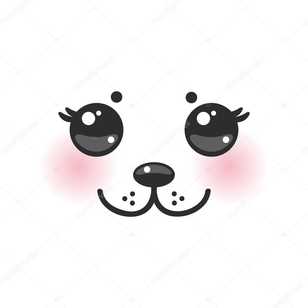 Kawaii funny albino animal white muzzle with pink cheeks and big black eyes. Vector