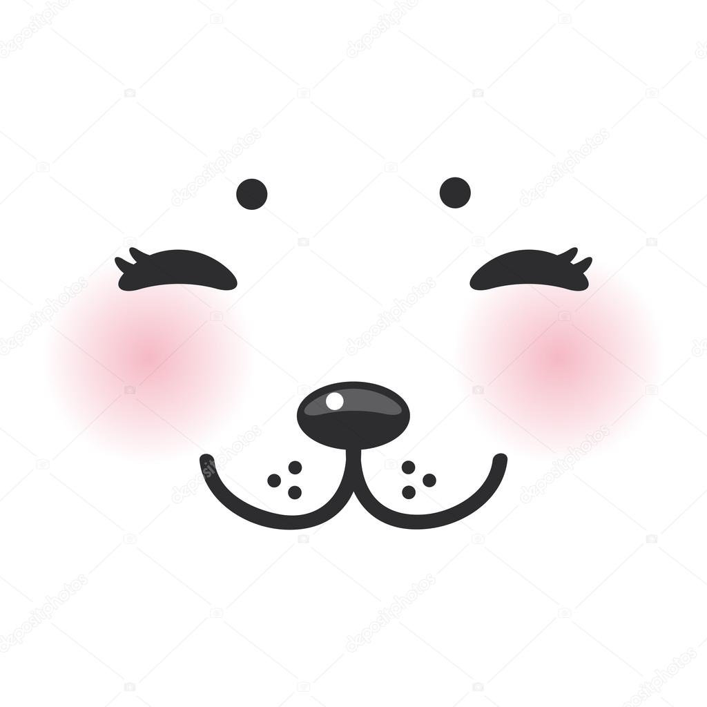 Kawaii funny albino animal white muzzle with pink cheeks and closed eyes. Vector