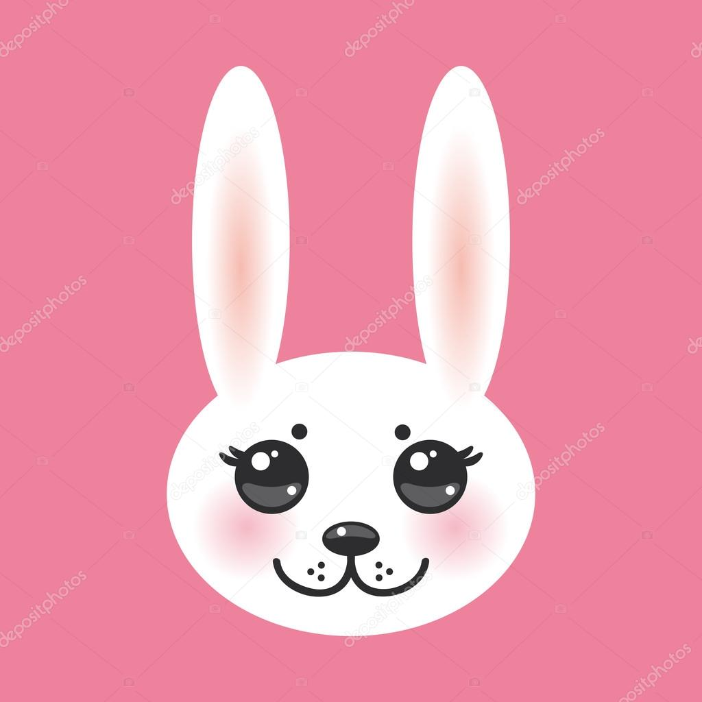 Kawaii funny animal muzzle white rabbit on pink background with pink cheeks and big black eyes. Vector