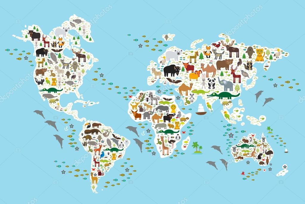 Cartoon animal world map for children and kids animals from all cartoon animal world map for children and kids animals from all over the world white continents and islands on blue background of ocean and sea gumiabroncs Choice Image