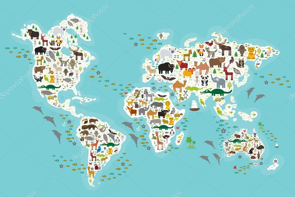 Cartoon animal world map for children and kids, Animals from all over the world, white continents and islands on blue background of ocean and sea. Vector