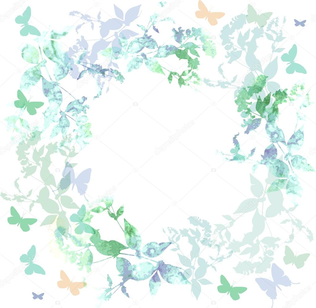 Spring background, Colorful butterflies set wreath with green mint leaves, watercolor. Round banner for text. spring summer card design on white background. Vector
