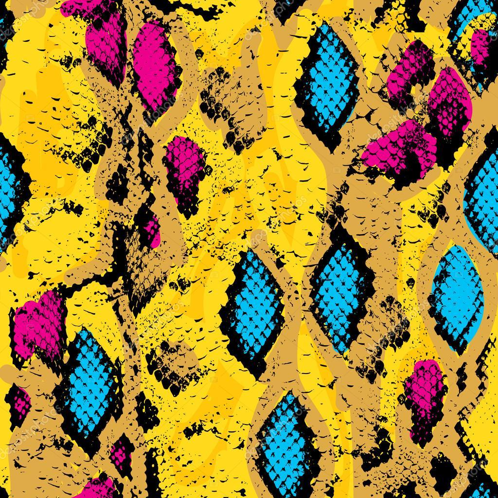 Snake skin texture. Seamless pattern pink blue orange black yellow background. Vector