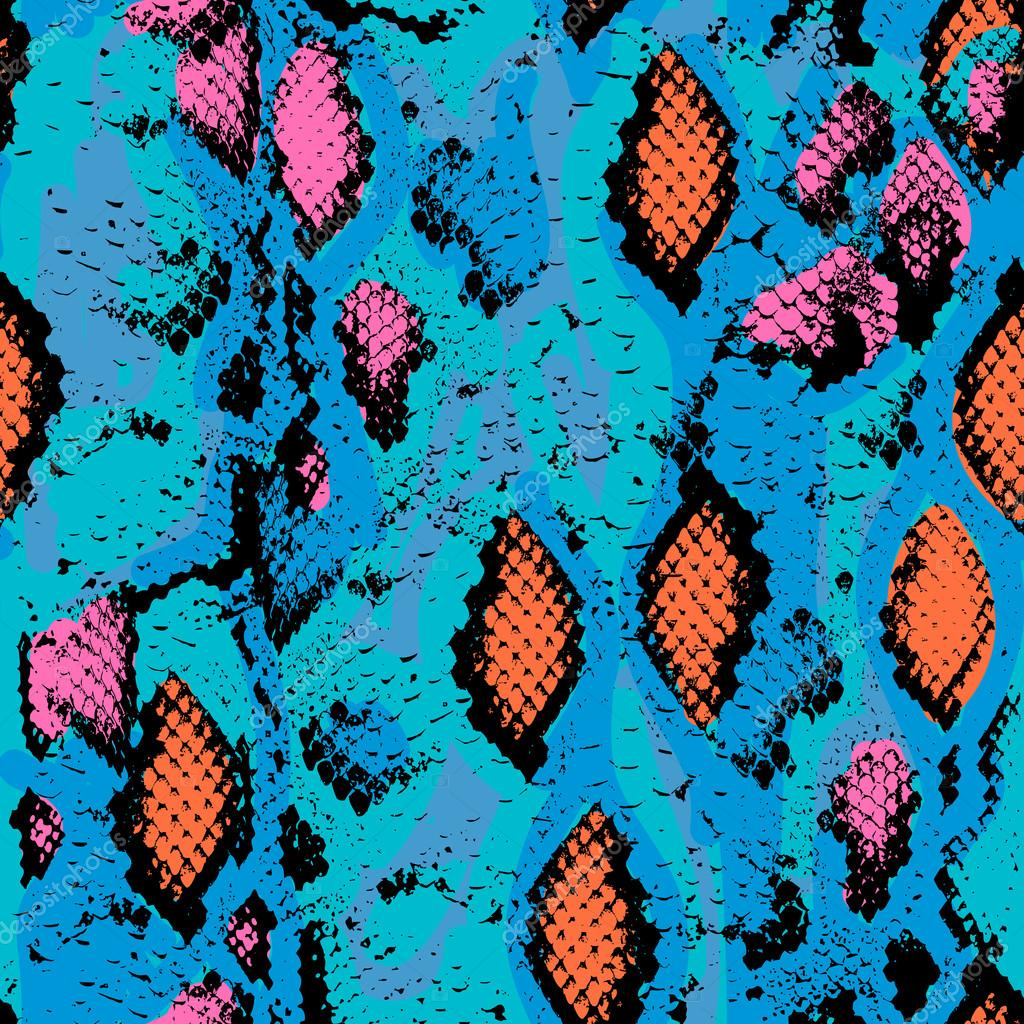 Snake skin texture. Seamless pattern pink blue orange black background. Vector
