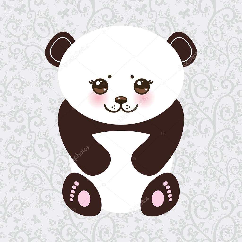 Kawaii funny panda white muzzle with pink cheeks and big black eyes. Vector
