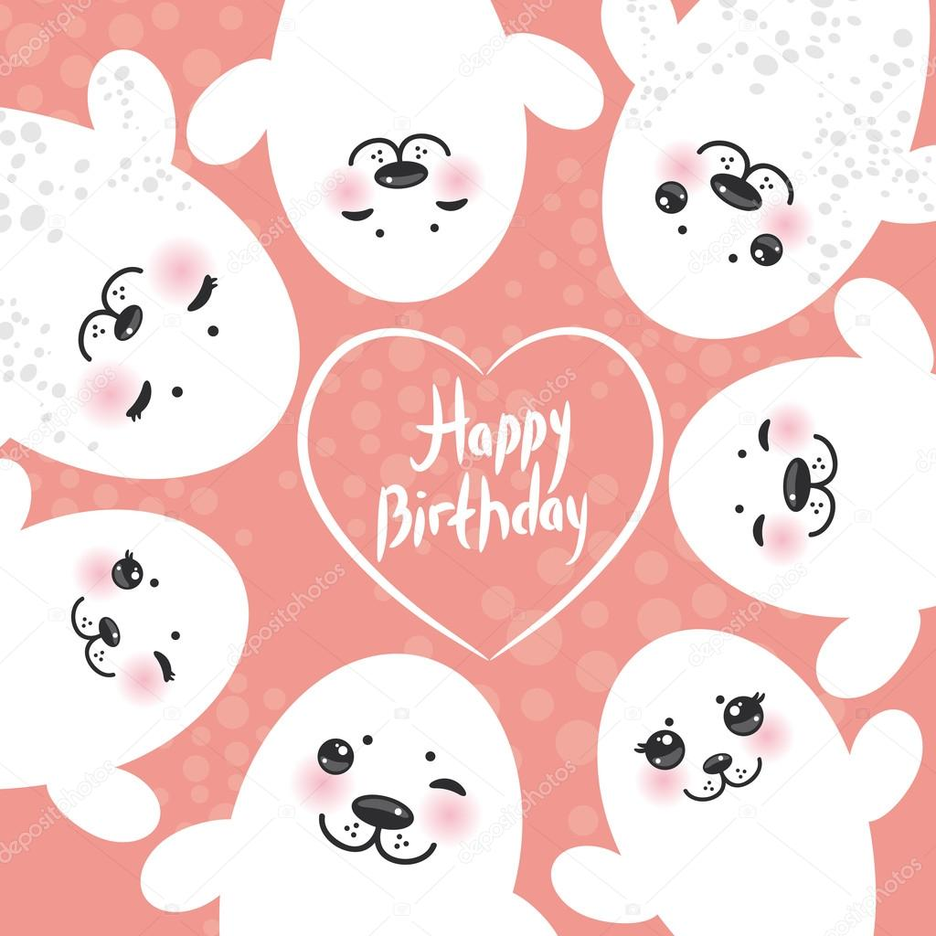 Happy birthday card design Funny white fur seal pups, cute winking seals with pink cheeks and big eyes. Kawaii albino animals on pink background. Vector