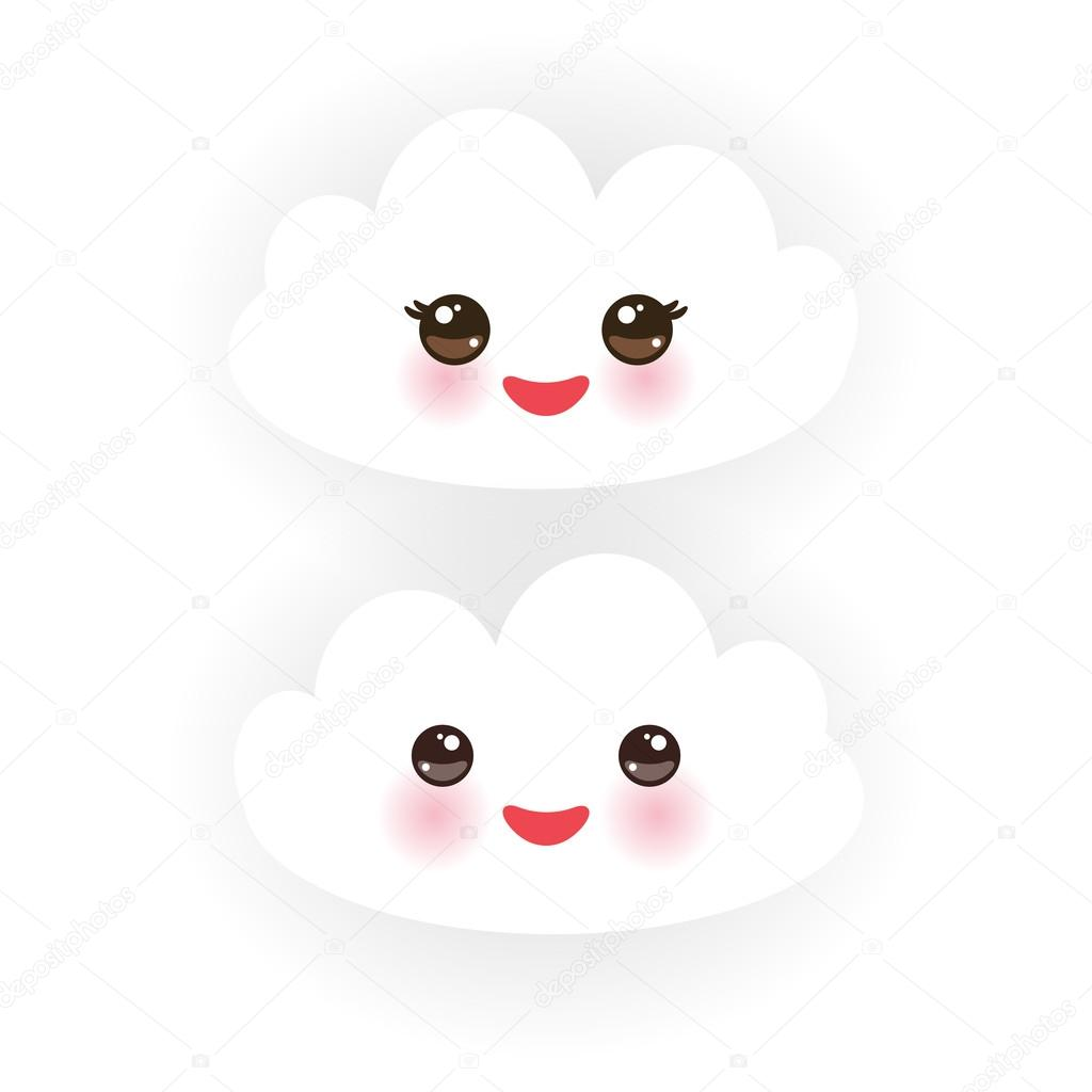 Kawaii funny white clouds, muzzle with pink cheeks and winking eyes  on white background. Vector