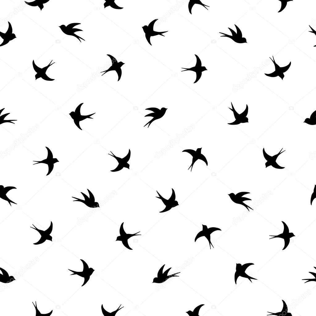 Flying birds silhouette black and white pattern