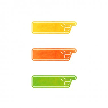 Set of vector hand pointers - yellow, orange, green
