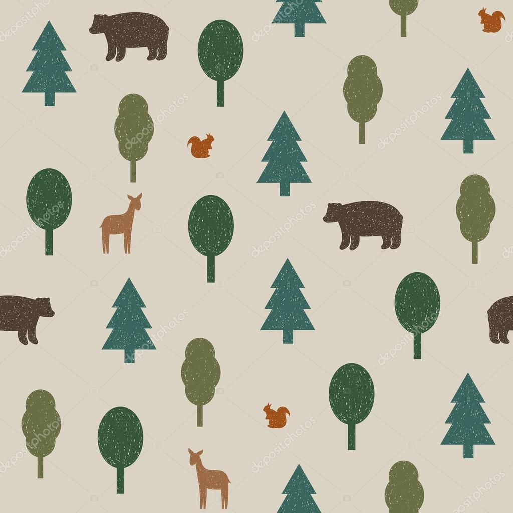 Wild animals in the forest seamless pattern