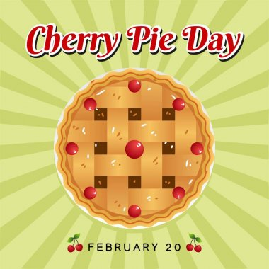 Cherry Pie Day Vector Illustration. Suitable for Greeting Card, Poster and Banner. icon