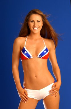 Rebel Red White Blue Flag Two Piece - Blue Background - Front View - Brunette