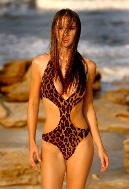 Leopard One Piece - Wet Haired Sexy Brunette