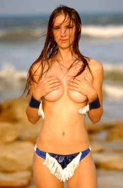 Implied Topless - Cowboy Cuffs - Wet Haired Sexy Brunette