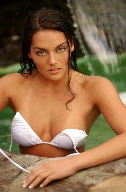 Smoking Hot Brunette - White Bikini comes Off - Waterfall Background