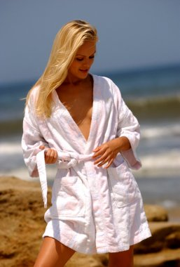 Starlet Anya Monzikova  celebrity super model model actress  Iron Man 2  Maxim - Deal or no Deal - cover of Runway Magazine  Russian Born Blonde Bomb Shell - White Robe - Pretty Blond