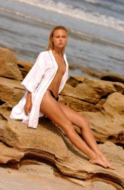 Starlet Anya Monzikova  celebrity super model model actress  Iron Man 2  Maxim - Deal or no Deal - cover of Runway Magazine  Russian Born Blonde Bomb Shell - Smoking Robe - Hot Blond