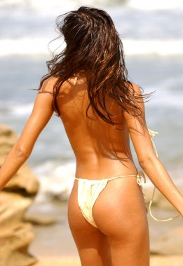 Custom Made Tan Leather Bikini - Front - Side and Back Views