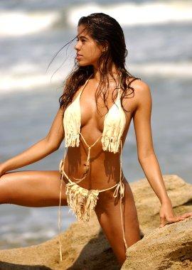 Custom Made Tan Leather Bikini - Front - Side and Back Views