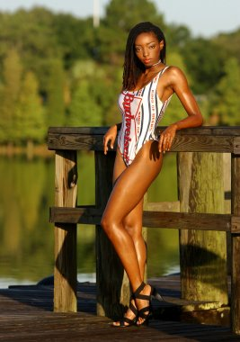 Red White and Blue One Piece Swimsuit - African American Brunette