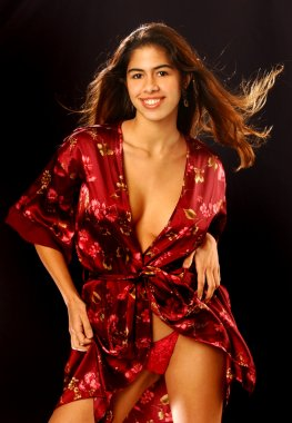 Maroon Flowered Robe - Black Solid Background - Stunning Brazilian Model