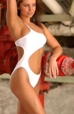 White One Piece Swimsuit - Sexy Brunette - Front View