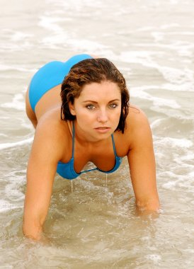 Beach Crawl - Blue Bikini - Ocean Beach and Waves