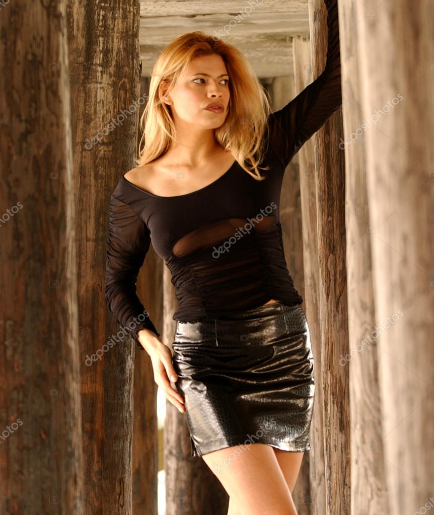Black Lace Sleeve Top - Shiny Leather Skirt - Tall Brunette ...