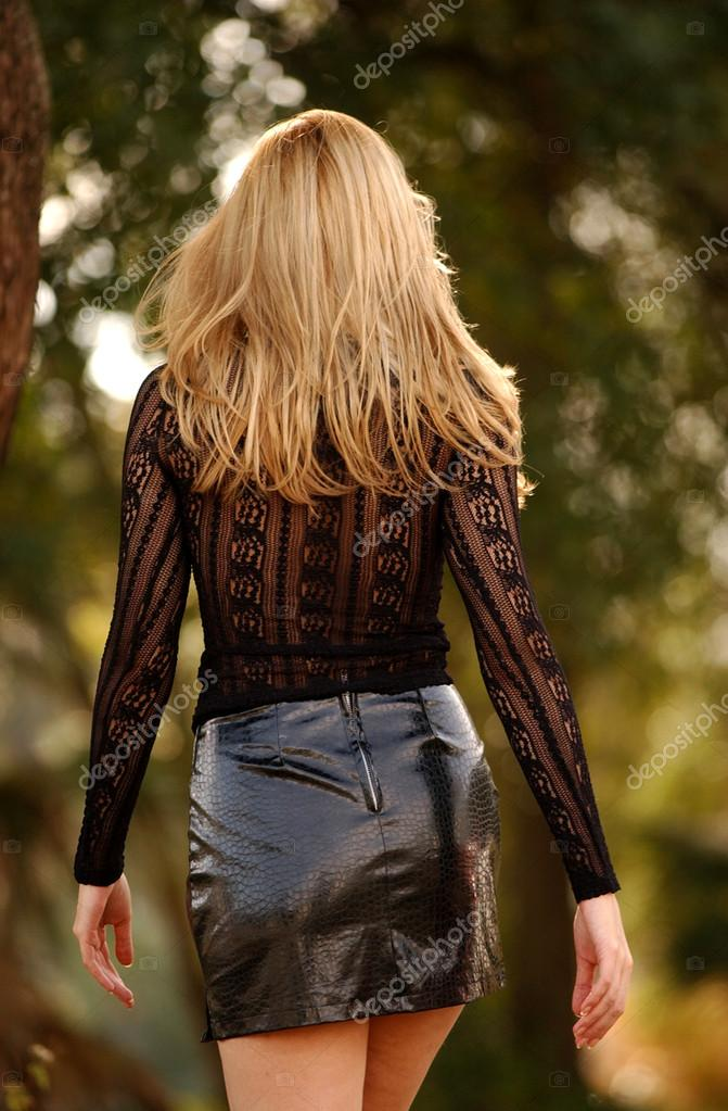 Black Lace Sleeve Top - Shiny Leather Skirt - Tall Brunette - Back ...