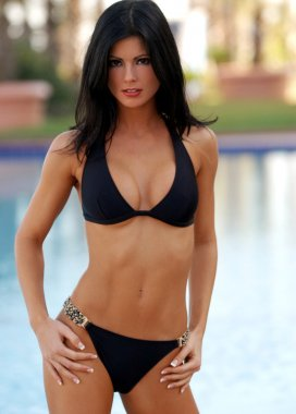 Black Skimpy  Bikini - Blue Pool Background - Front View