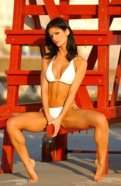 White Bikini - Playboy Model Laura Croft - Front View