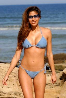 Skimpy Blue Brazillian Cut Bikini - Sexy Tan Brazilian Busty Brunette