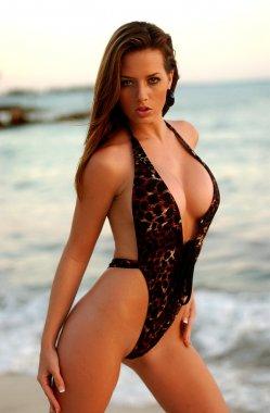 Leopard Sexy One Piece - Beautiful Busty Brunette - Ocean Water Beach Freeport Bahams Background