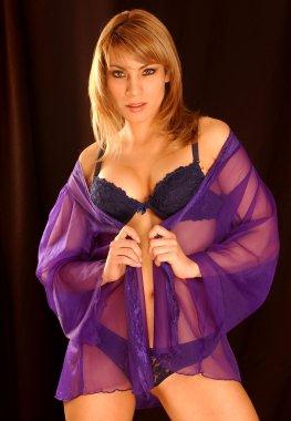 Sheer Purple Robe - Black Lace Lingerie - Firey Redhead