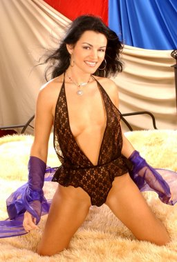 Sheer Lingerie with Sheer Deep Purple Robe