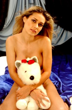Implied Topless - Teddy Bear with Red Bow