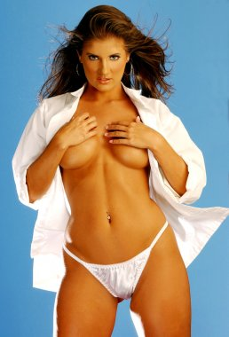 Implied Topless - White Open Shirt - Satin White Panties - Stunning Brunette