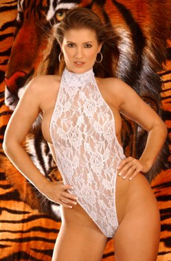 Sheer Teddy - Lion Background - Wendy Meece precious delightful body fun alluring look of naughty college school girl photo fantasy outfit for sex play and foreplay perfect for calendar man cave or warrior locker room image
