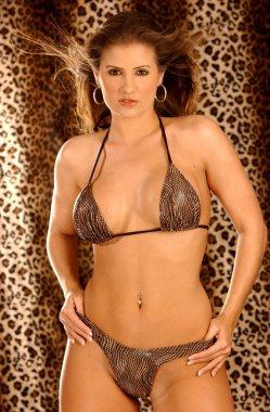Snake Skin Pint Skimpy Bikini - Gold Hoop Earrings