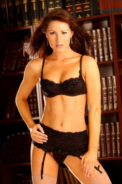 Stunning Black Lace Bra Panty and Stocking on Sultry Brunette