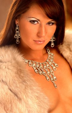 Sexy Fur Stole - Silver Jewelry - Stunning Brunette