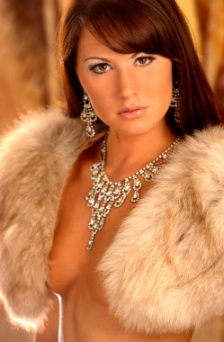 Sexy Fur Stole - Silver Jewelry - Stunning Brunette - Serious Look