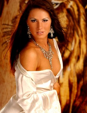 Satin Robe - Silver Jewelry - Sultry Brunette