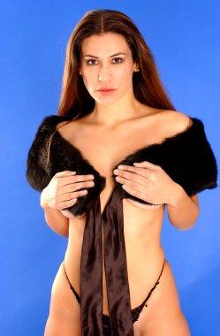 Mimk Fur Stole - Black Skimpy Panties