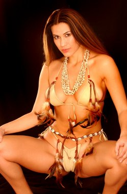 Custom Native American Indian Feathered Leather Bikini