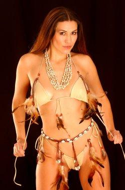 Custom Native American Indian Feathered Leather Bikini