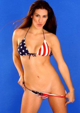 American Flag Bikini - Brunette Model
