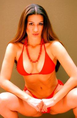 Red Bikini - Red Bead necklace