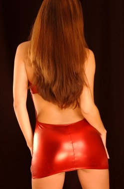Red Dress Backside - tone butt cheeks backside rear end behind view of curved buttocks bottom