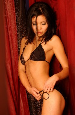Shower Scene - Black Bikini